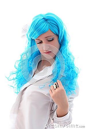 Blue hairs girl