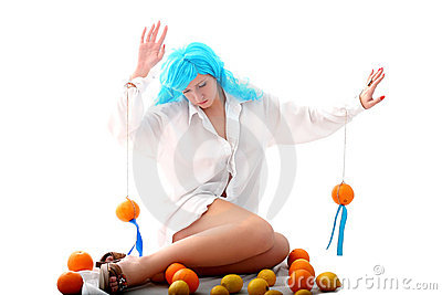 Blue hairs girl and fruits