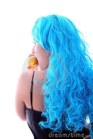 Blue hairs girl and lemon