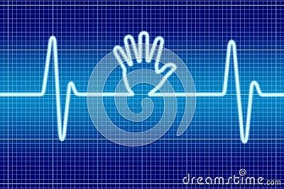 Blue hand help signal