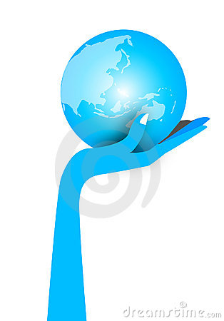 Free Blue Hand Holding World Globe Stock Photography - 13840752