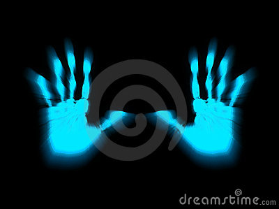 Blue Hand Prints Stop