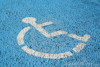 Blue handicap parking sign