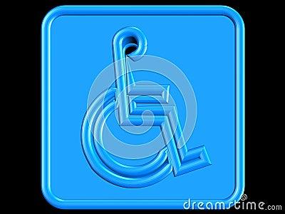 Blue handicap symbol