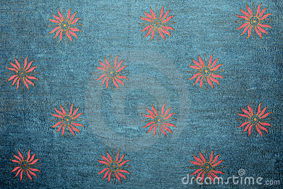Blue handmade art paper with floral pattern