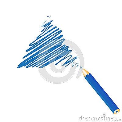 Blue handwritten triangle
