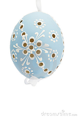 Blue hanging hand painted easter egg