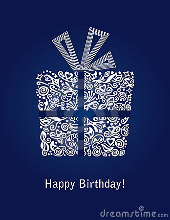 Free Blue Happy Birthday Card With Detailed White Gift Box Ornament Royalty Free Stock Photos - 11698138