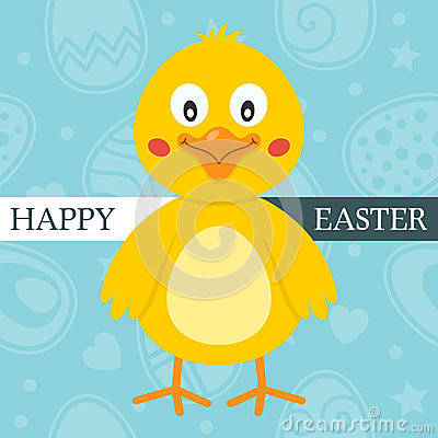 Blue Happy Easter Card with Cute Chick