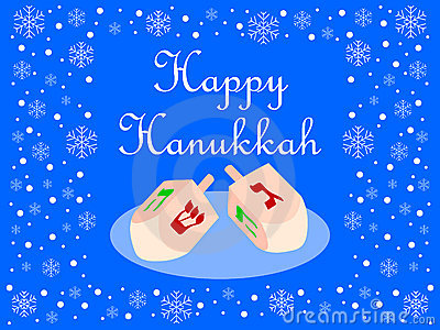 Blue Happy Hanukkah Card