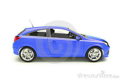 Blue hatchback car