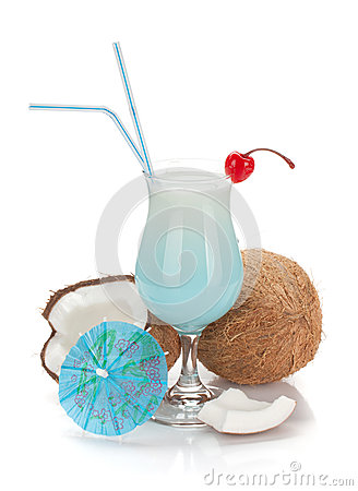 Free Blue Hawaii Cocktail And Coconuts Stock Photo - 24775810