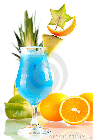 Free Blue Hawaii Tropical Cocktail With Pineapple Stock Photo - 12507220