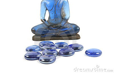 Blue healing stones and Buddha.