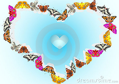 Blue heart background of butterflies