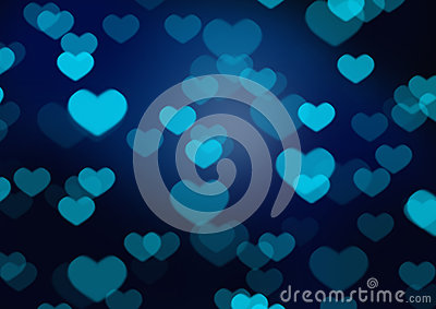 Blue heart bokeh
