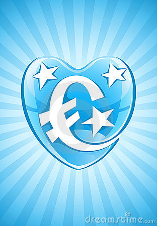 Blue heart with euro currency symbol and stars