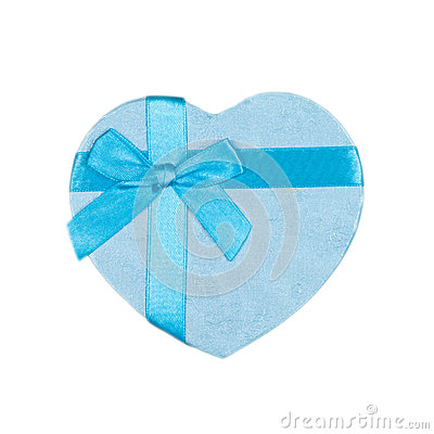 Blue heart gift box with a bow