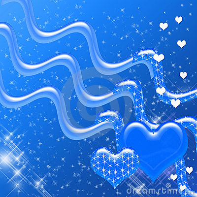 Blue Hearts and Sparkles Backdrop