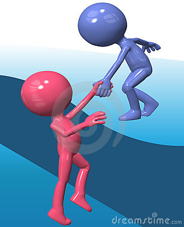 Blue helper person lift 3D friend climb up