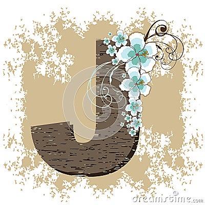 Blue hibiscus vintage alphabet G