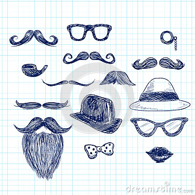 Free Blue Hipster Doodle Elements Stock Image - 46594551