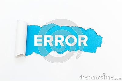 Blue hole in white paper. Error Stock Photo