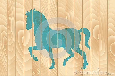 Blue horse on the wooden fence.