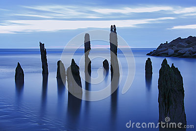 Blue hour sea landscape