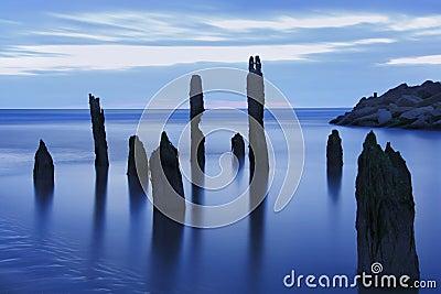 Blue hour sea landscape