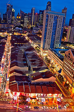 Blue Hour at Singapore Chinatown Editorial Photo