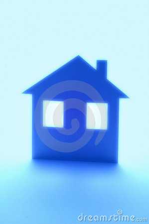 Blue House Home Insurance Silhouette