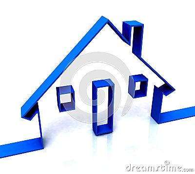 Blue House Sketch Shows Real Estate Or Rentals