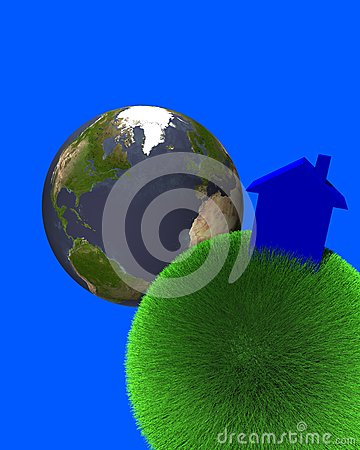 Blue house on sphere of grass with earth