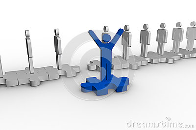 Blue human form over jigsaw piece raising arms