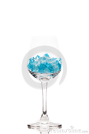 Blue ice in martini glass