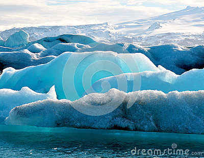 Blue icebergs in Iceland