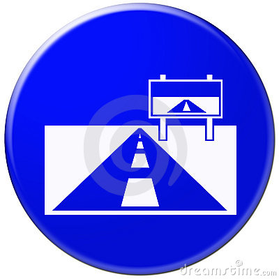 Blue icon with symbol of road