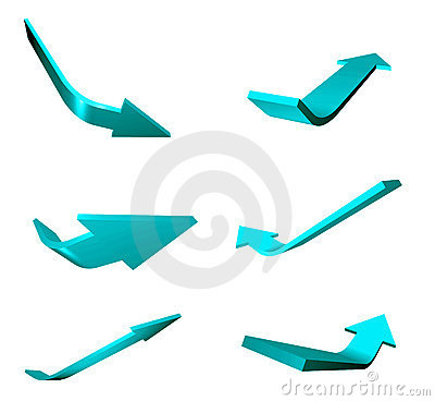 Blue illustrated arrows
