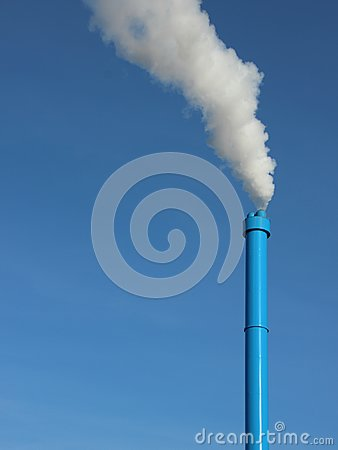 Free Blue Industrial Chimney On Sky Background With White Steam Stock Photos - 101821453