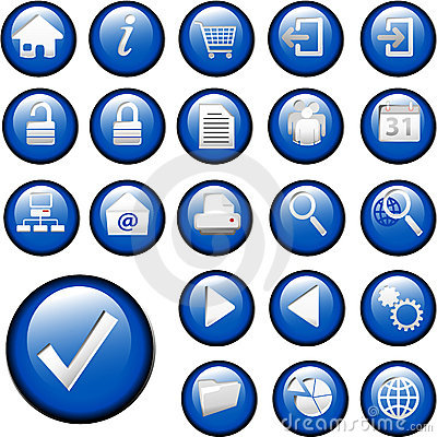 Free Blue Inset Button Icons Set Collection Stock Images - 2888094