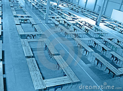 Blue interior warehouse, nobody construction,