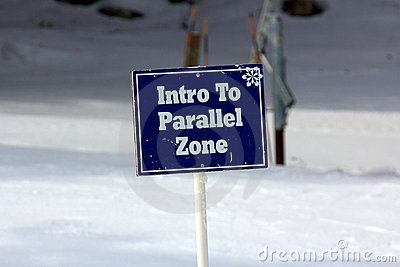 Blue Intro To Parallel Zone Sign on the Ski Slopes