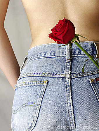 Blue jean pocket with a red rose