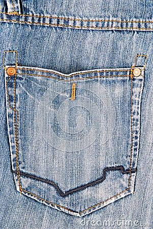 Jeans Back Pocket Texture Old Blue Jeans Hip Pocket