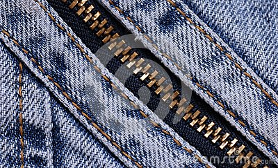 Blue jeans background with zipper