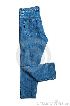 Blue jeans close up on white