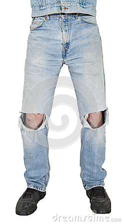 Blue Jeans, Holes in Knees, Grunge Look Isolated