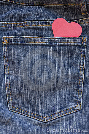 Free Blue Jeans Pocket With Heart Stock Photo - 7726460