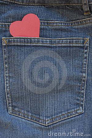 Free Blue Jeans Pocket With Heart Royalty Free Stock Photography - 7768127